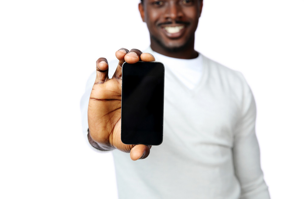 African american man holding phone