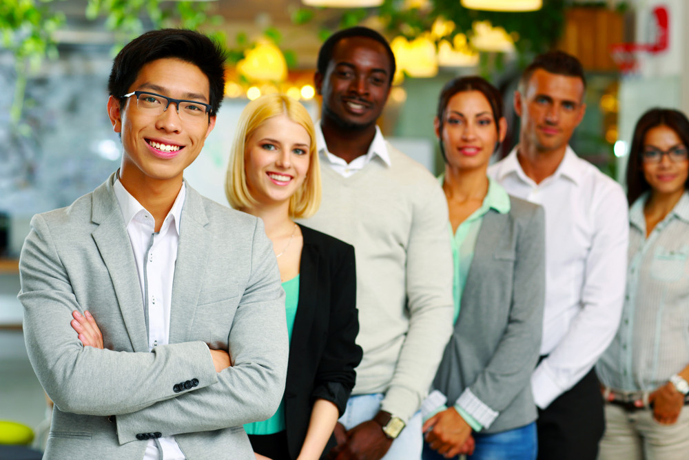 Portrait of a smiling group business people