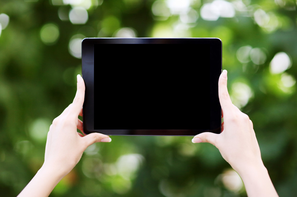 Closeup portrait of a female hands holding tablet computer with blank screen