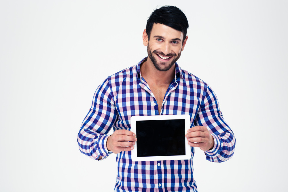 Happy man showing tablet computer screen