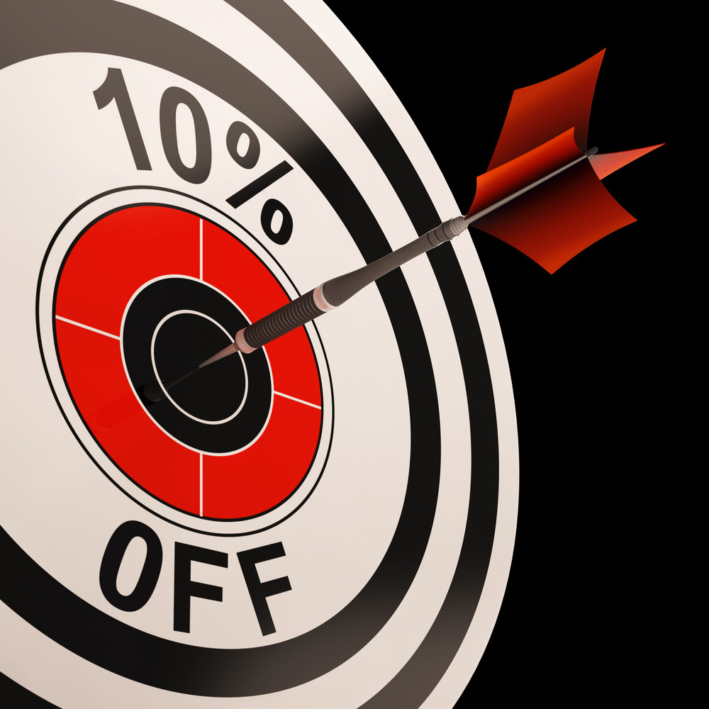 10 Percent Off Shows Percentage Reduction On Price