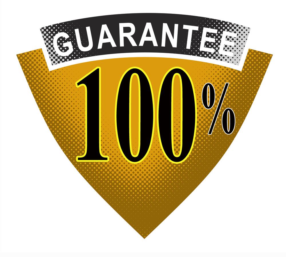 100% Guarantee In Shield And Ribbon