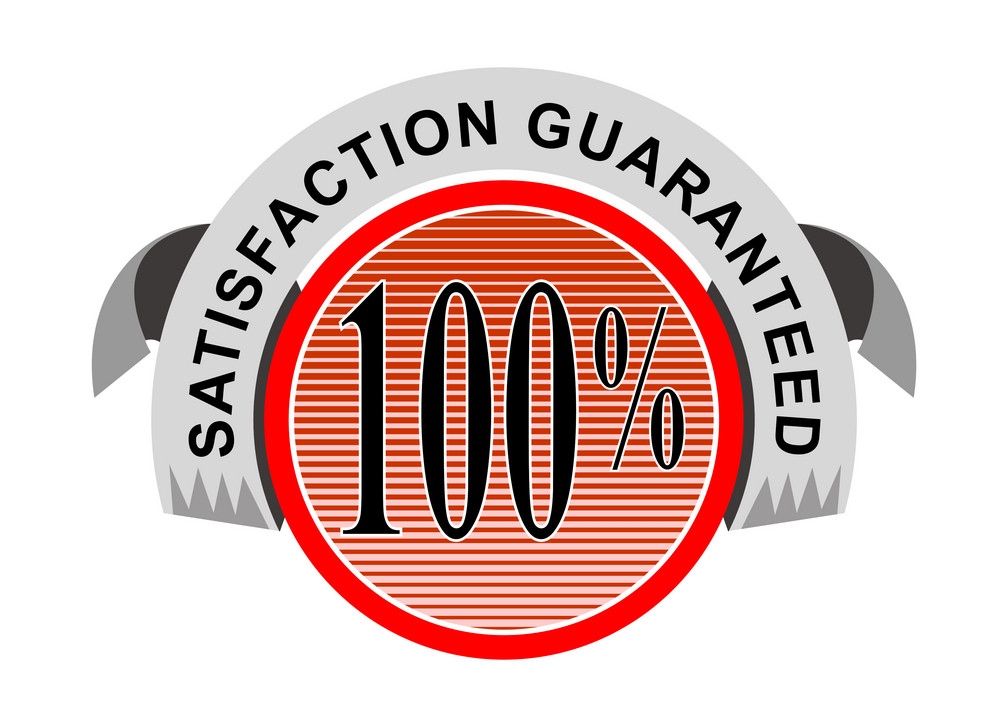 100% Satisfaction Guaranteed Shield Curly Ribbon