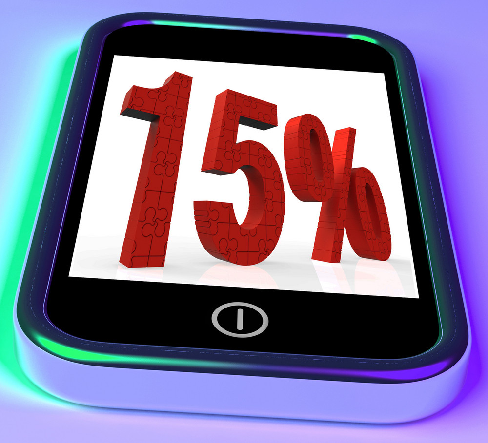 15 On Smartphone Showing Savings, Price Reduction And Discounts