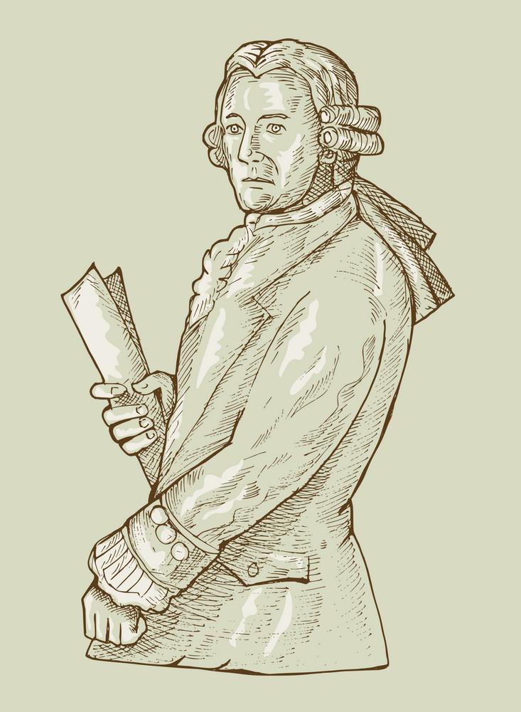 17th Century Gentleman Or Aristocrat Wearing Wig