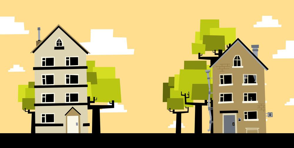 2 Cartoon Houses