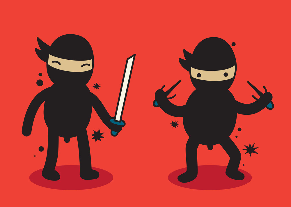 2 Cute Ninjas Standing On Red Background