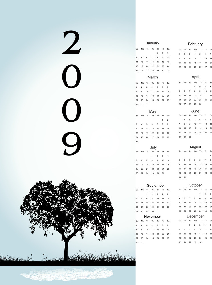 2009 Tree Calendar With Space For Text