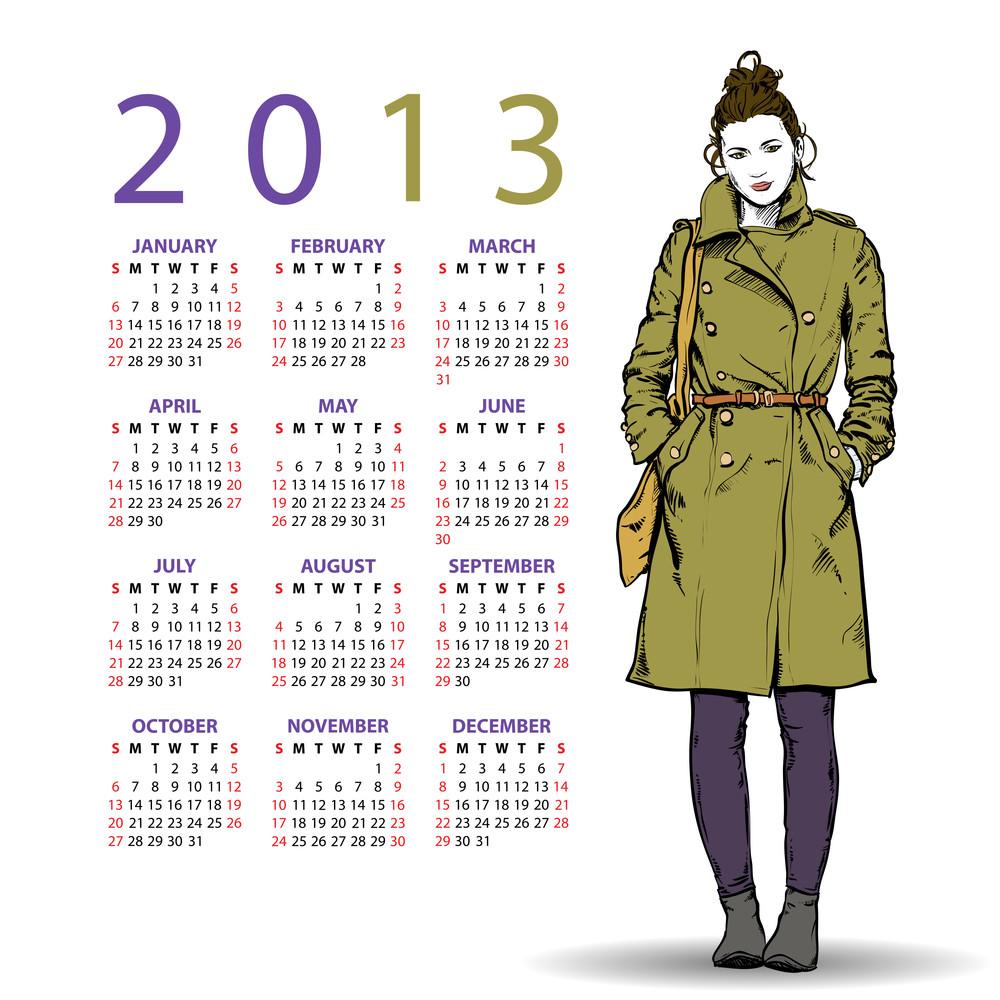 2013. Calendar With Fashion Girl.