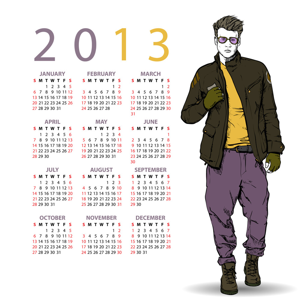 2013. Calendar With Stylish Dude.