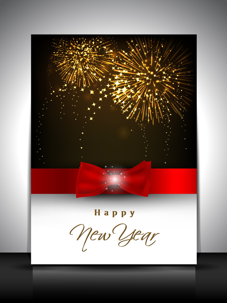 2013 New Year Celebration Gift Card Or Greeting Card Decorated With Red Ribbon.
