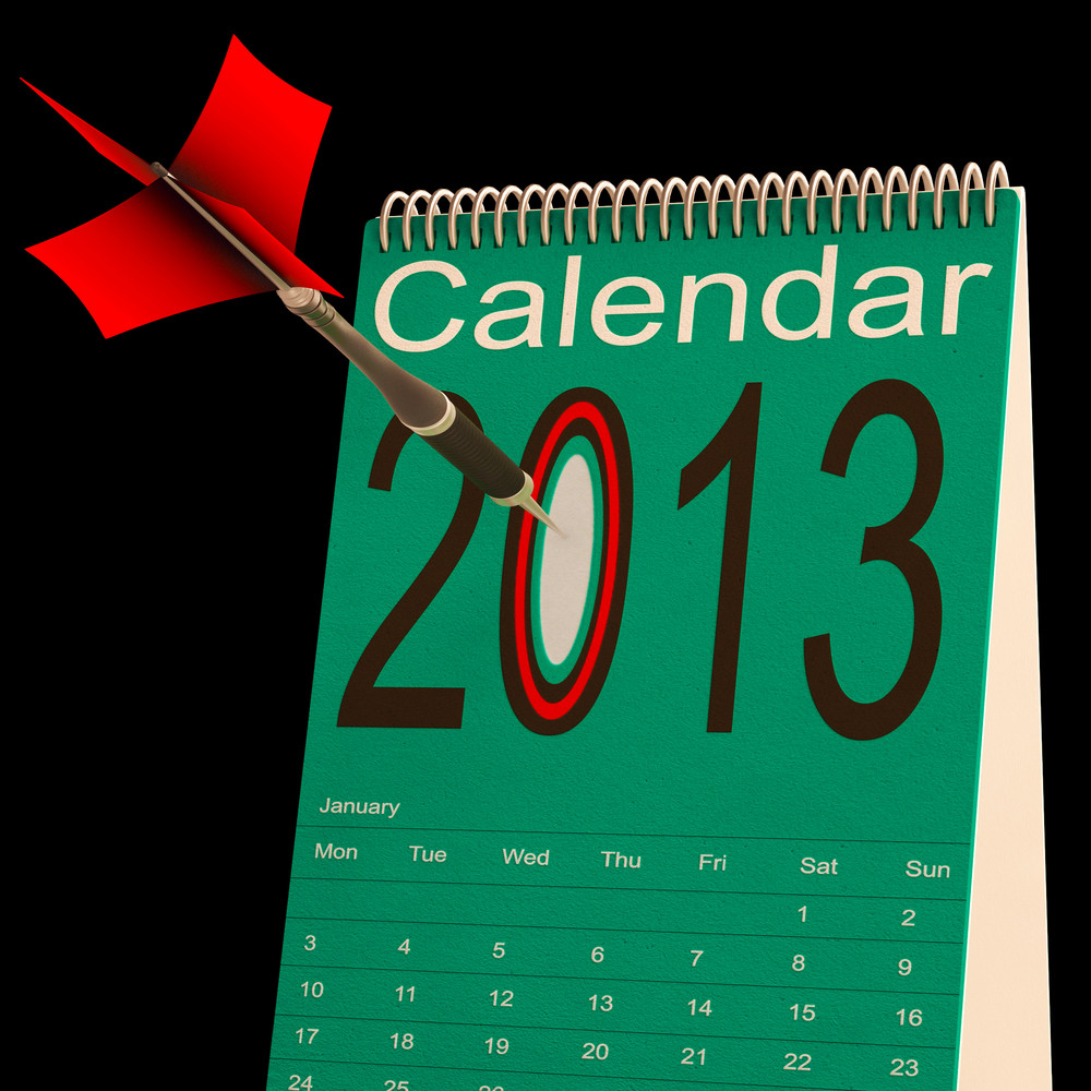 2013 Schedule Calendar Shows Future Business Targets