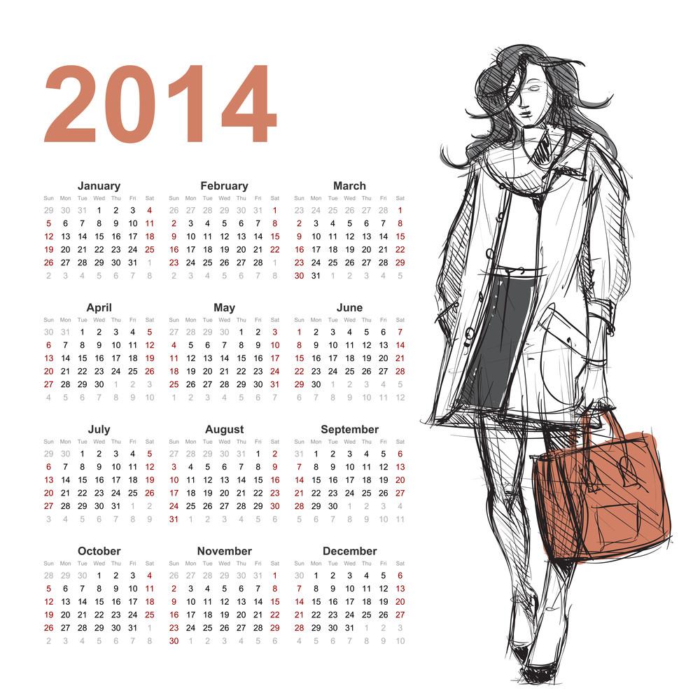 2014 Calendar With Fashion Girl.