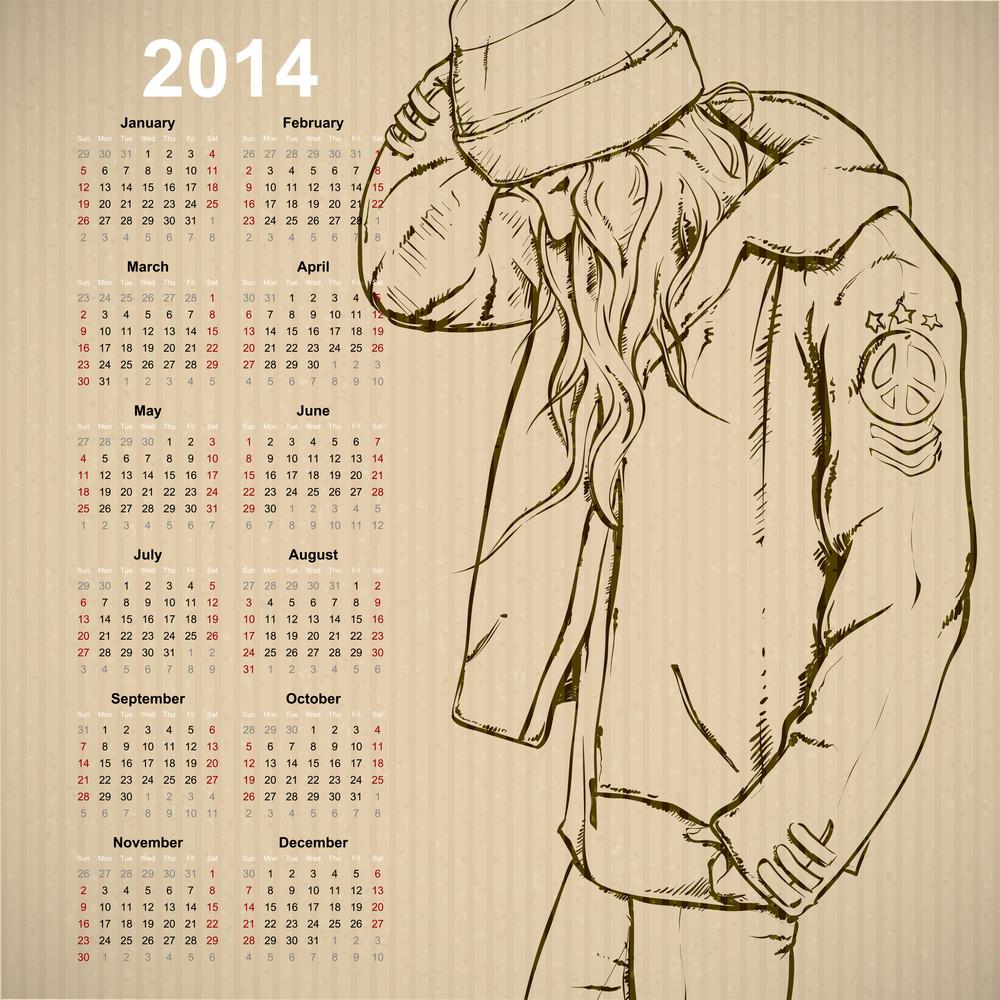 2014. Calendar With Fashion Girl.