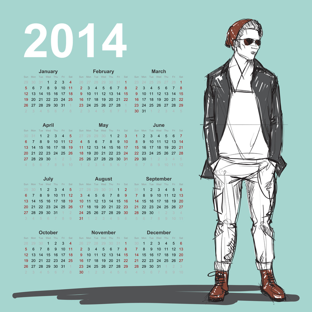 2014. Calendar With Stylish Dude.