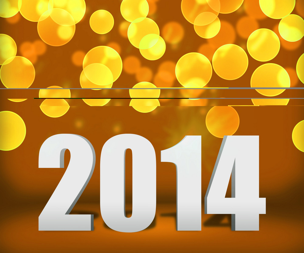 2014 Gold New Year Background Stage