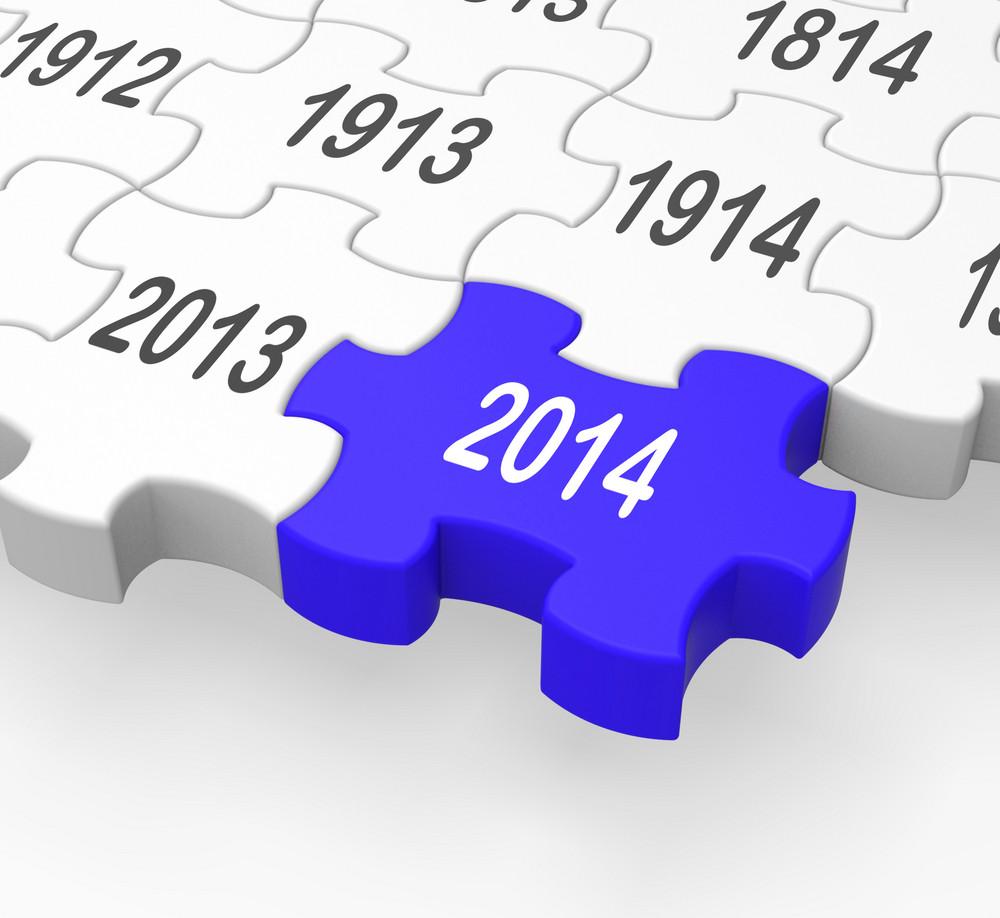 2014 Puzzle Piece Showing Calendar