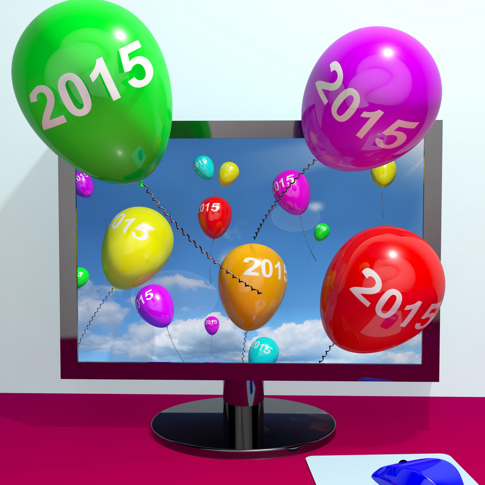 2015 On Balloons From Computer Representing Year Two Thousand And Fifteen Greeting Online