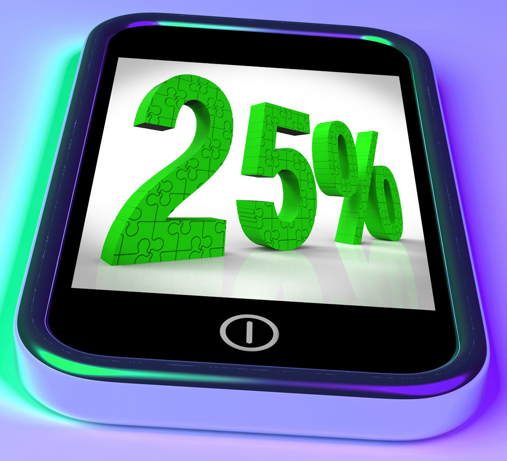 25 On Smartphone Shows 25 Percent Off And Clearances