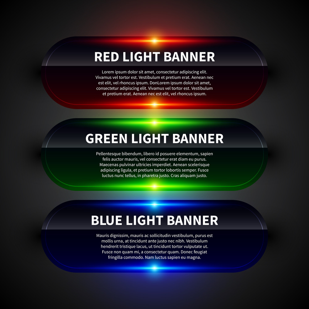 3 Glossy Horizontal Banners With Glowing Lights. Useful For Web Design.
