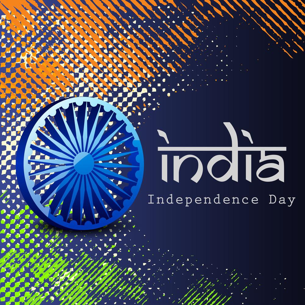 3d Ashoka Wheel On Grungy National Flag Colors