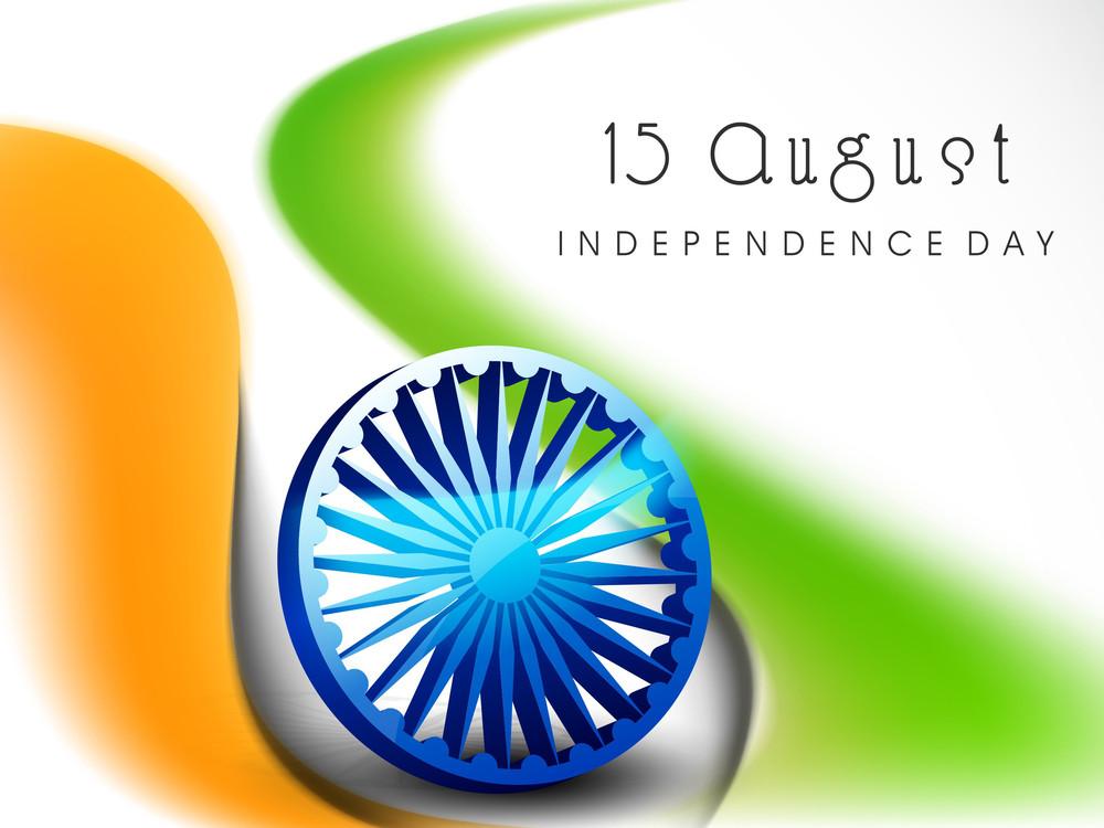 3d Ashoka Wheel On National Flag Colors