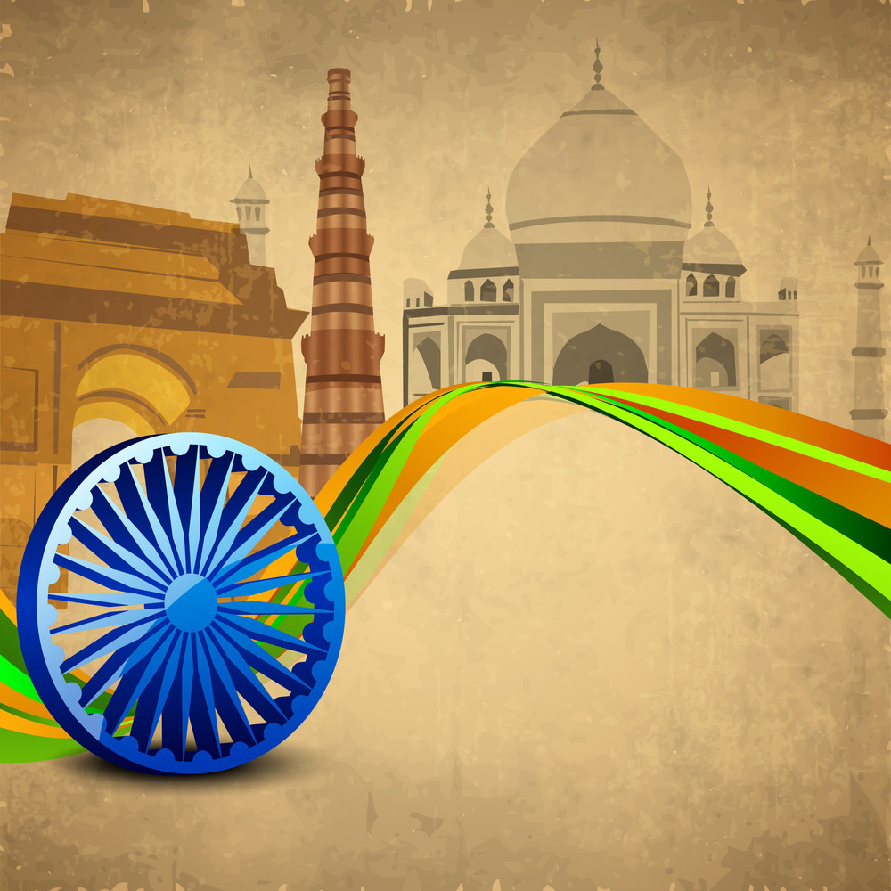 3d Ashoka Wheel With National Flag Colors