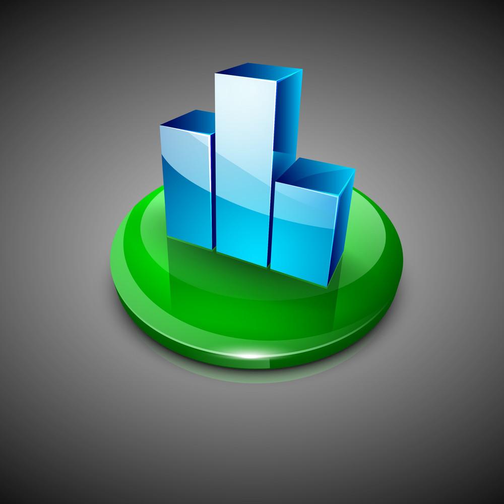 3d Bar Graph Icon