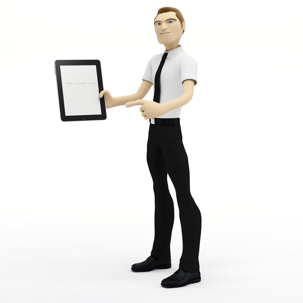 3d Businessman Holding Blank Tablet Pc