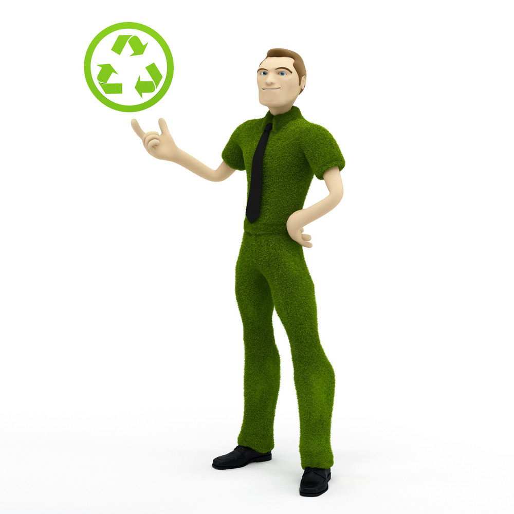 3d Businessman Holding With Recycle Icon