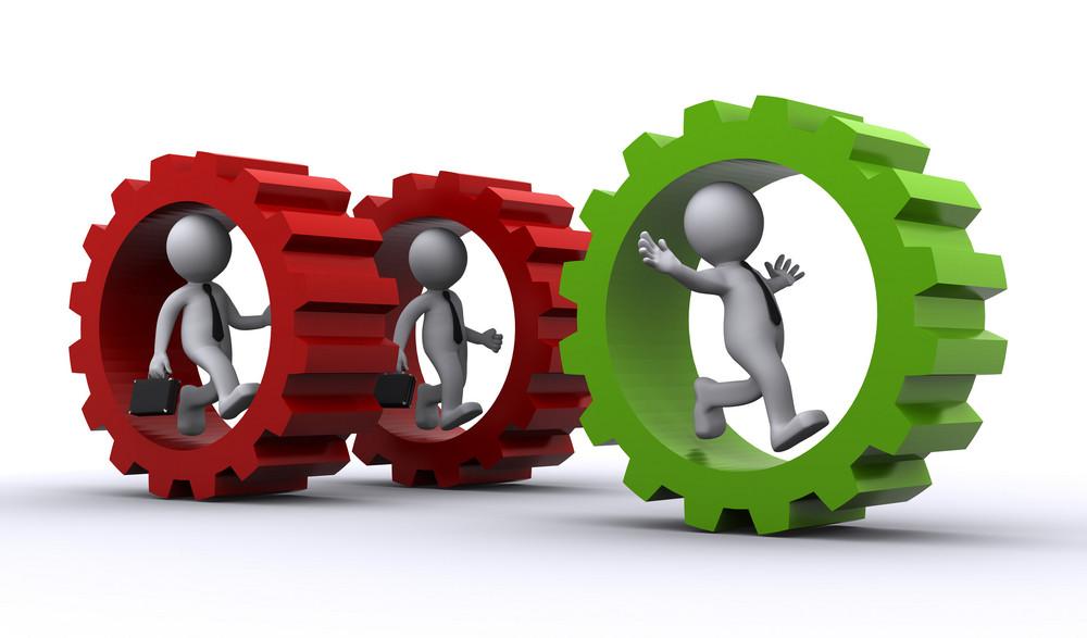 3d Businessman Inside Gear. Teamwork Concept