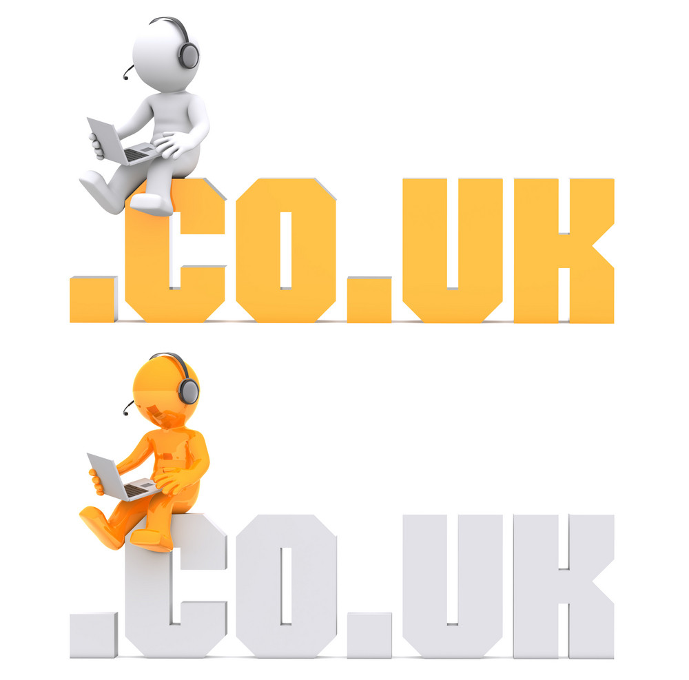 3d Character Sitting On .co.uk Domain Sign.