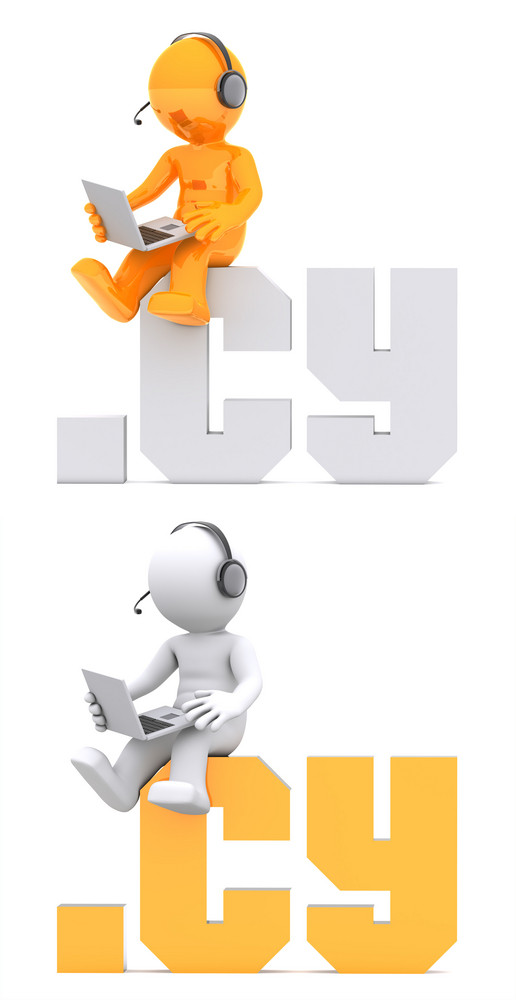 3d Character Sitting On .cy Domain Sign.