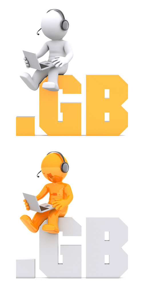 3d Character Sitting On .gb Domain Sign.
