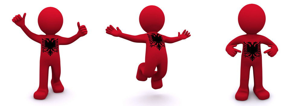 3d Character Textured With  Flag Of Albania