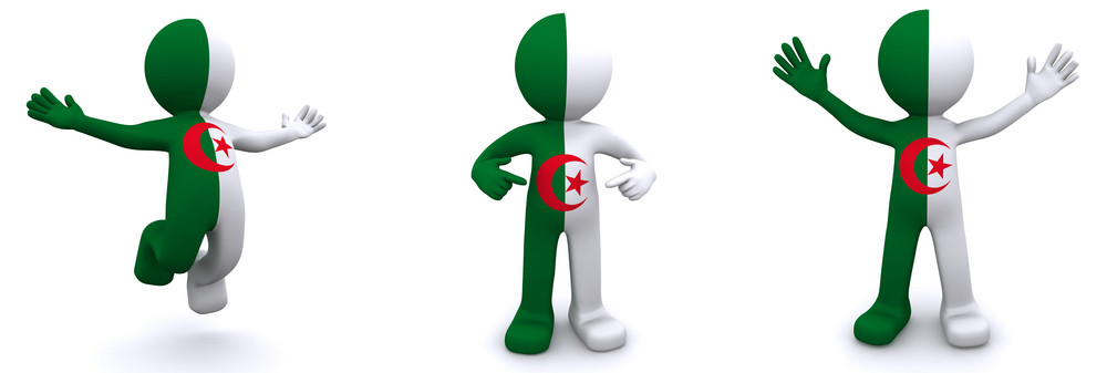 3d Character Textured With Flag Of Algeria