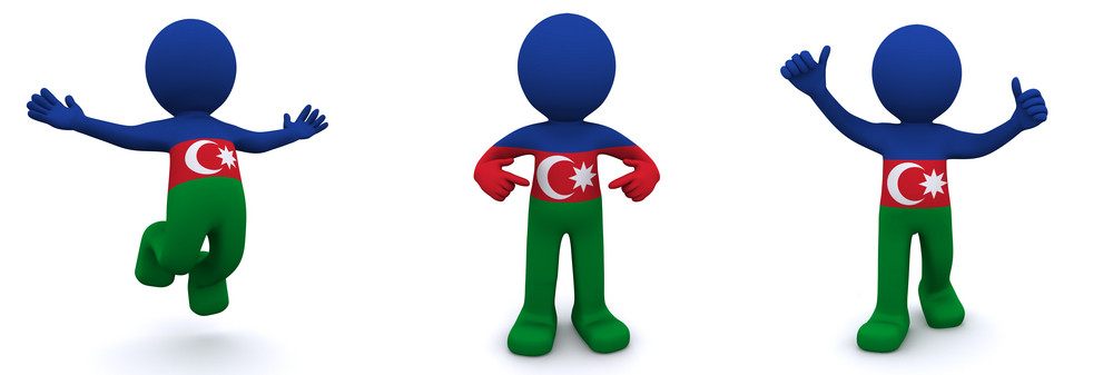 3d Character Textured With Flag Of Azerbaijan