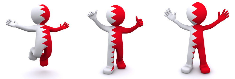 3d Character Textured With Flag Of Bahrain