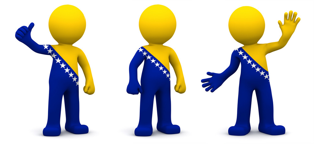 3d Character Textured With Flag Of Bosnia And Herzegovina Isolated On White Background