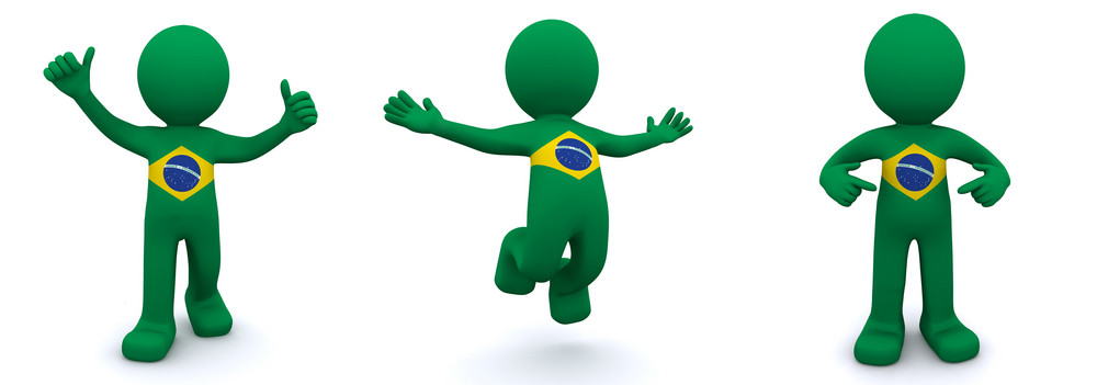 3d Character Textured With  Flag Of Brazil