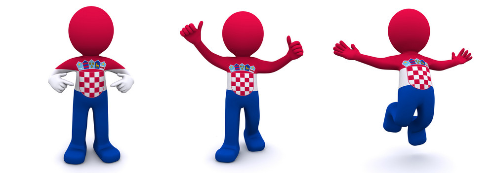 3d Character Textured With  Flag Of Croatia