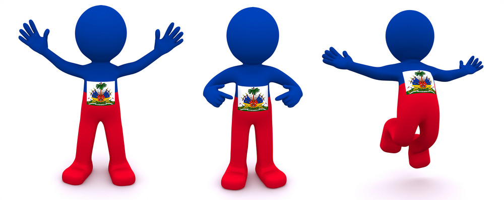 3d Character Textured With Flag Of Haiti