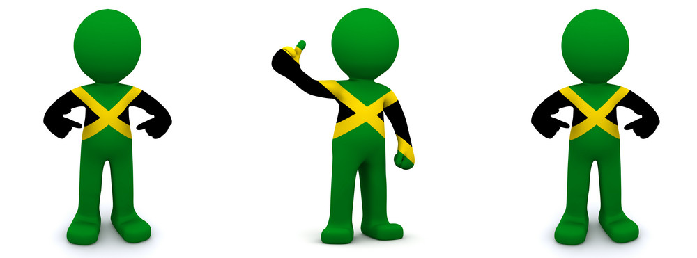 3d Character Textured With Flag Of Jamaica