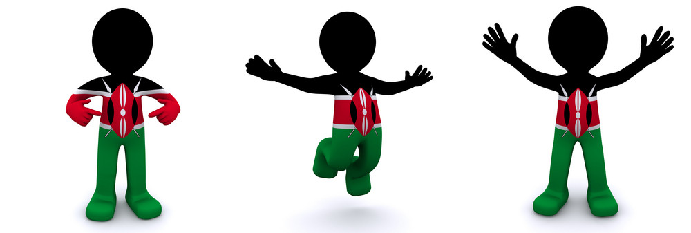 3d Character Textured With Flag Of Kenya
