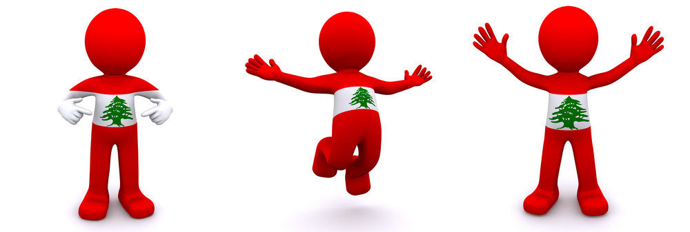 3d Character Textured With Flag Of Lebanon