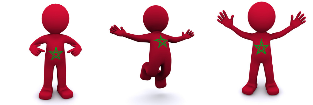 3d Character Textured With Flag Of Morocco
