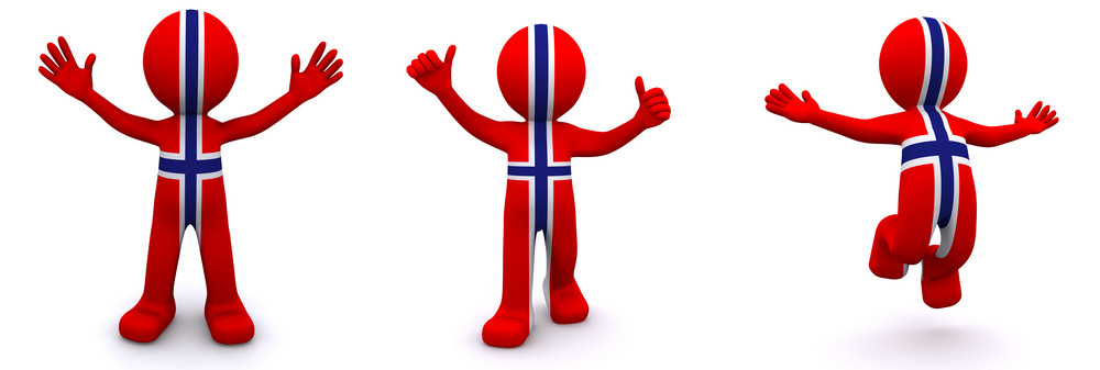 3d Character Textured With Flag Of Norway