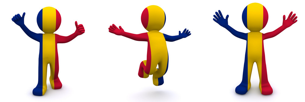 3d Character Textured With Flag Of Romania