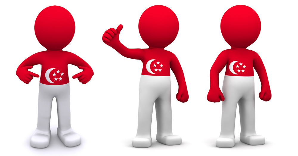 3d Character Textured With Flag Of Singapore