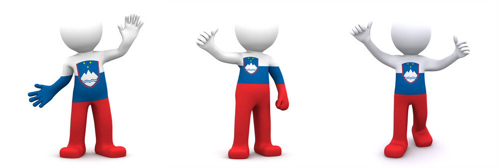 3d Character Textured With Flag Of Slovenia